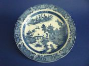 Leeds Old Pottery 'Long Bridge' or 'Two Man Scroll' Pattern Plate c1800